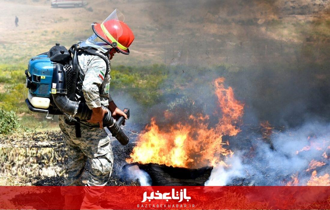 آتش به جان  ۱۳۵ هکتار از مراتع علیآباد نیزار قم افتاد