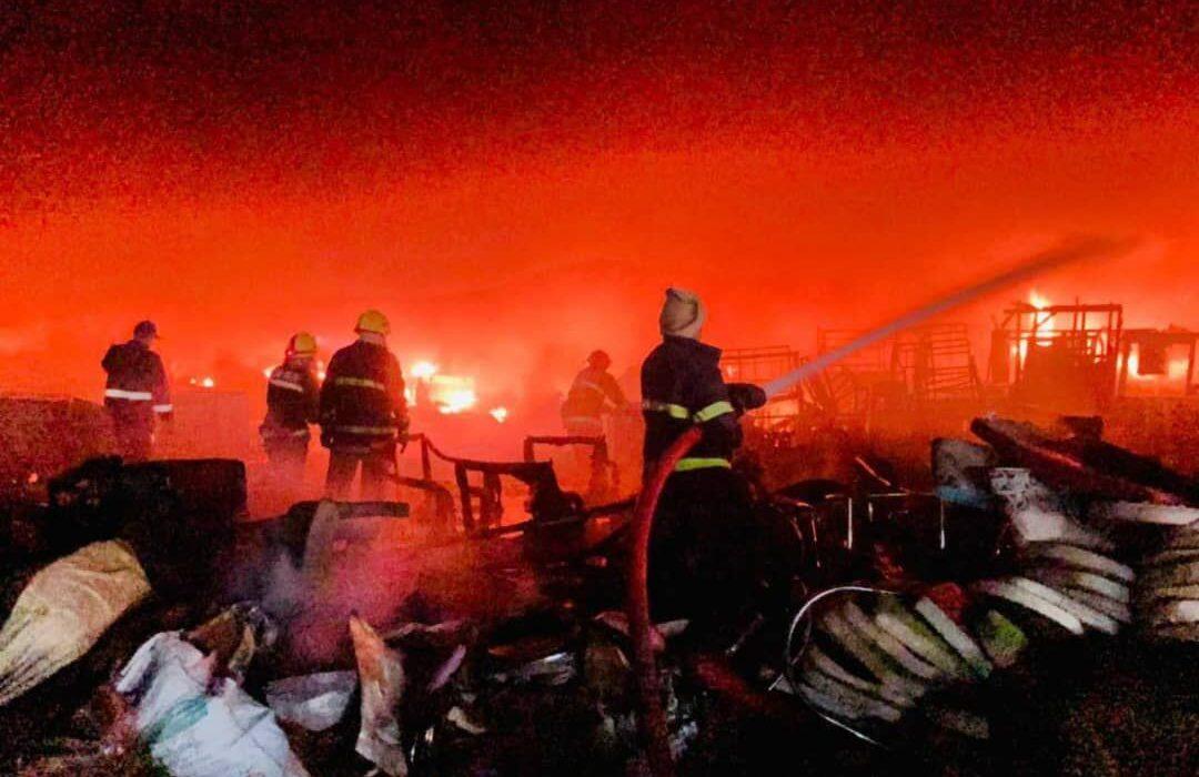آتش سوزی گسترده در مرکز بغداد